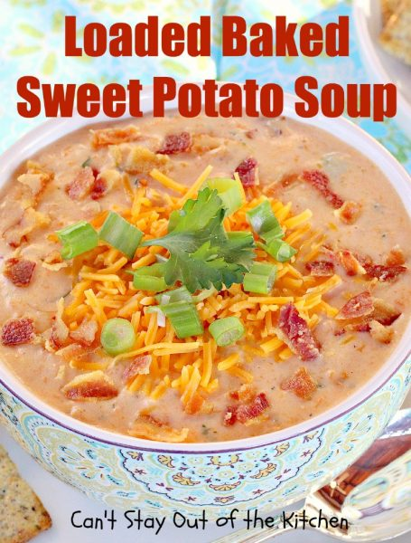 garnished Loaded Baked Sweet Potato Soup with bacon bits, cheddar ...