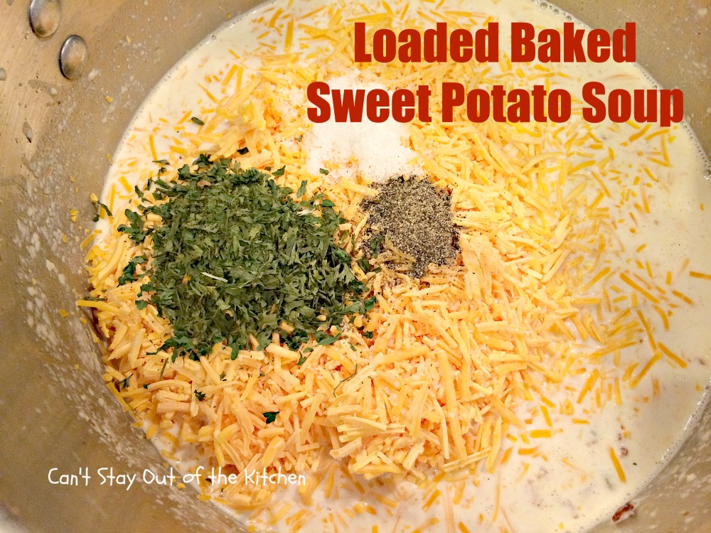 Loaded Baked Sweet Potato Soup - Can't Stay Out of the Kitchen