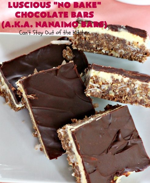 Luscious No Bake Chocolate Bars - Nanaimo Bars | Can't Stay Out of the Kitchen | this #dessert is sinfully rich & so decadent. Every bite will have you drooling. It's the perfect #brownie to wow your family & friends. #FathersDay #FathersDayDessert #Chocolate #cookie #ChocolateDessert #NanaimoBars #Canada #coconut #NoBakeDessert #LusciousNoBakeChocolateBars #holiday #HolidayDessert