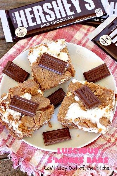 Luscious S'Mores Bars | Can't Stay Out of the Kitchen | these spectacular #Smores #cookies are heavenly. Every bite will have you drooling! They have a #grahamcracker crust layer, a #Hersheys #chocolate layer, a #marshmallowcream layer & topped with another graham cracker layer. Fantastic #dessert for any occasion. #tailgating #SmoresDessert #chocolatedessert #brownie