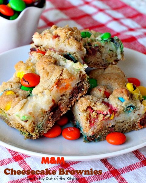 M&M Cheesecake Brownies | Can't Stay Out of the Kitchen | this fantastic #brownie is to die for! A luscious #cheesecake layer is sandwiched between 2 layers of M&M #cookiedough and topped with more #M&Ms. Absolutely divine! #dessert