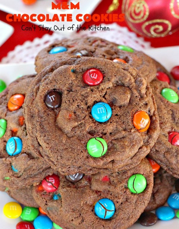 M&M Chocolate Cookies | Can't Stay Out of the Kitchen | these fantastic #chocolate #cookies are so festive and beautiful for the #holidays. They're double loaded with chocolate & #MMs. This #dessert is absolutely a chocolate lover's delight! #ChristmasCookieExchange #HolidayBaking #HolidayDessert #baking #ChocolateDessert #MMDessert #MMChocolateCookies