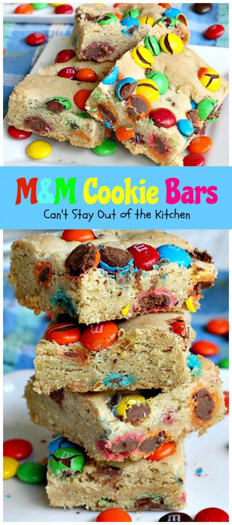 M&M Cookie Bars | Can't Stay Out of the Kitchen