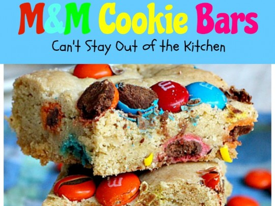 M&M Cookie Bars | Can't Stay Out of the Kitchen | these #brownies are so delectable you won't be able to stop eating them! #M&Ms #cookie #dessert #tailgating