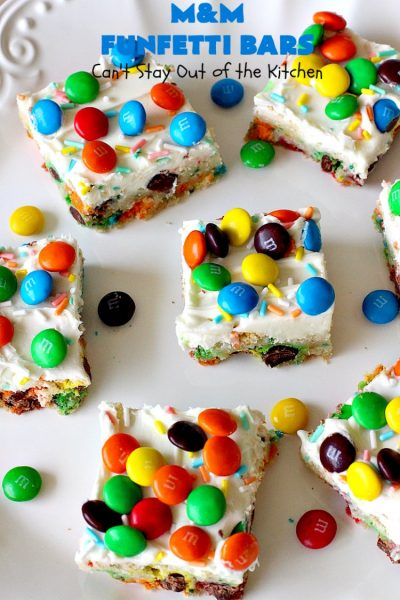 M&M Funfetti Bars | Can't Stay Out of the Kitchen | this easy 6-ingredient #recipe will knock your socks off! Every bite is so rich, decadent & divine. If you enjoy the flavors of #MMs & #Funfetti, you'll love these luscious #dessert #brownies. Great for #tailgating, potlucks or #holiday #baking. #MMFunfettiBars #ConfettiCakeMix #ChocolateDessert #cookies #MMDessert #6IngredientBrownies #chocolate
