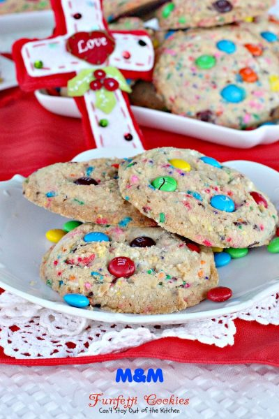 M&M Funfetti Cookies | Can't Stay Out of the Kitchen | these marvelous #cookies have both #M&M's and #rainbowsprinkles. #dessert #chocolate