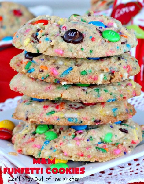 M&M Funfetti Cookies | Can't Stay Out of the Kitchen | these spectacular #cookies are filled with both #MMs & #funfetti #sprinkles! They are so drool-worthy. Every bite will have you coming back for more. Great #dessert for #tailgating or #Christmas parties, potlucks, or summer #holiday fun. #chocolate #ChocolateDessert #MMDessert #FunfettiDessert