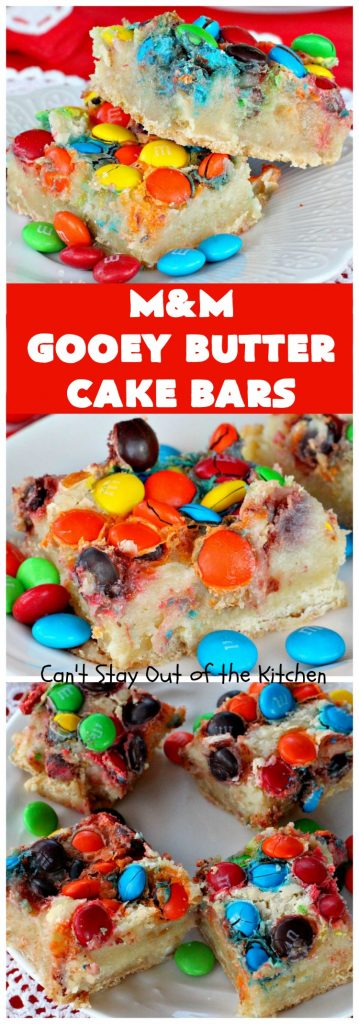 M&M Gooey Butter Cake Bars | Can't Stay Out of the Kitchen