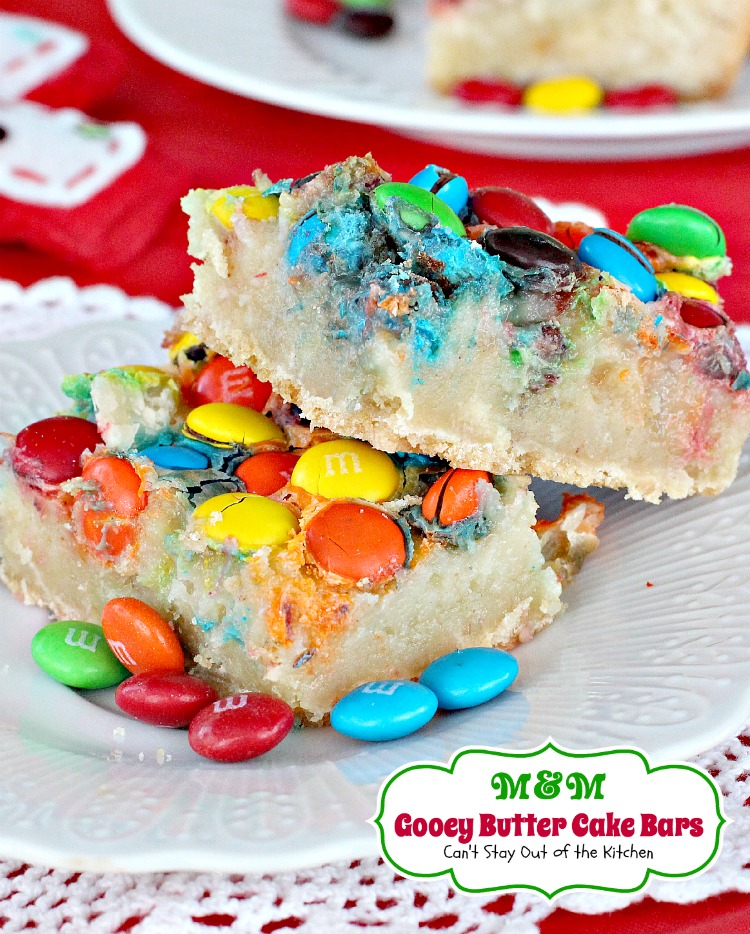 M&M Gooey Butter Cake Bars | Can't Stay Out of the Kitchen | these ooey gooey #brownies are so rich, decadent and delicious. Great for #holiday #baking. #M&M's #chocolate #cookie
