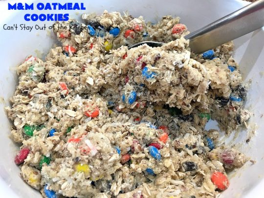 M&M Oatmeal Cookies | Can't Stay Out of the Kitchen | we had people tell us these were the BEST #cookies they've ever eaten after sampling these delicious jewels! So, so good. #M&Ms #OatmealCookies #coconut #pecans #chocolate #Tailgating #ChocolateDessert #M&MDessert #dessert #M&MCookies #M&MOatmealCookies