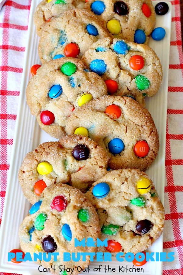 M&M Peanut Butter Cookies | Can't Stay Out of the Kitchen | these spectacular #cookies are divine! They're filled with #PeanutButter and #MMs! What's not to love? They'll cure any sweet tooth craving. Wonderful for #holiday #baking & #ChristmasCookieExchanges. #chocolate #PeanutButterCookies #ChocolateDessert #PeanutButterDessert #MMDessert #MMPeanutButterCookies