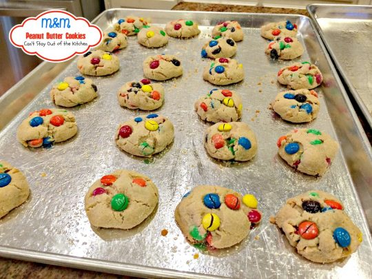 M&M Peanut Butter Cookies | Can't Stay Out of the Kitchen | these fabulous #peanutbutter #cookies are filled with #M&M's. Great for #holiday baking. #dessert