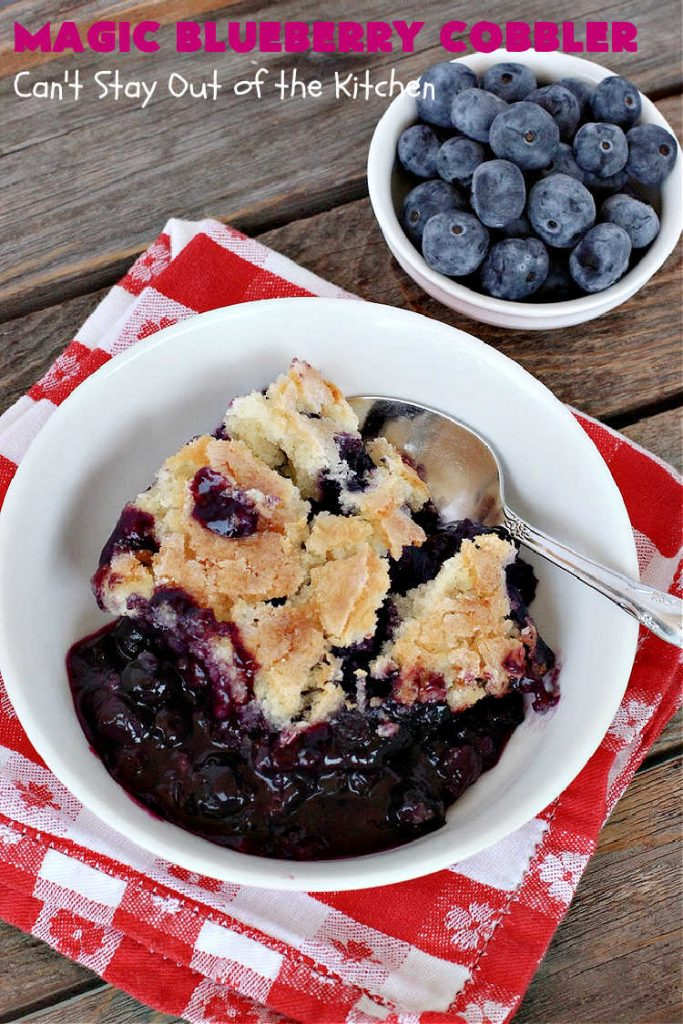 Magic Blueberry Cobbler | Can't Stay Out of the Kitchen | this #cobbler really is magic! It's layered with fresh #blueberries, then a topping and finally it has a sugar glaze on top like glazed donuts! Perfect for a company or #holiday #dessert. #HolidayDessert #BlueberryCobbler #BlueberryDessert #MagicBlueberryCobbler