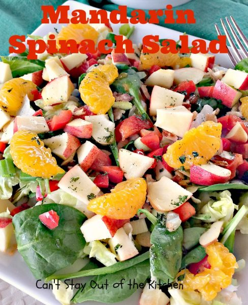 Kiwi-Strawberry Spinach Salad - Can't Stay Out of the Kitchen
