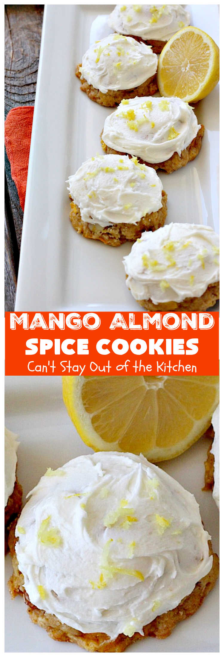 Mango Almond Spice Cookies   Can't Stay Out of the Kitchen   these amazing #cookies are heavenly. The #Lemon Buttercream Frosting is divine. Perfect for summer holidays, backyard barbecues & potlucks. Will certainly cure any sweet tooth craving! #dessert #mangos #almonds #MangoDessert #MangoAlmondSpiceCookies