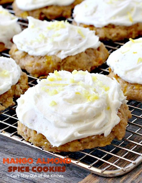Mango Almond Spice Cookies | Can't Stay Out of the Kitchen | these amazing #cookies are heavenly. The #Lemon Buttercream Frosting is divine. Perfect for summer holidays, backyard barbecues & potlucks. #dessert #mangos