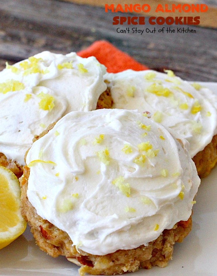 Mango Almond Spice Cookies   Can't Stay Out of the Kitchen   these amazing #cookies are heavenly. The #Lemon Buttercream Frosting is divine. Perfect for summer holidays, backyard barbecues & potlucks. #dessert #mangos
