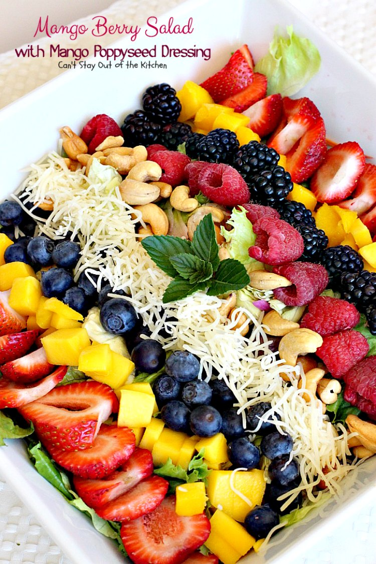 Mango Berry Salad with Mango Poppyseed Dressing