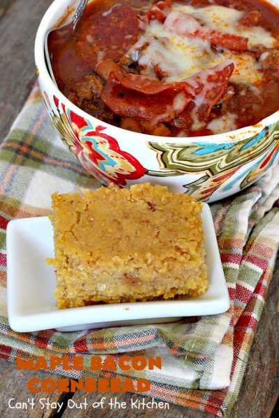 Maple Bacon Cornbread | Can't Stay Out of the Kitchen | We loved this amazing #cornbread. It uses honey, #maplesyrup, molasses & uncured nitrate-free #bacon. Perfect for dunking in chili or soup. #glutenfree
