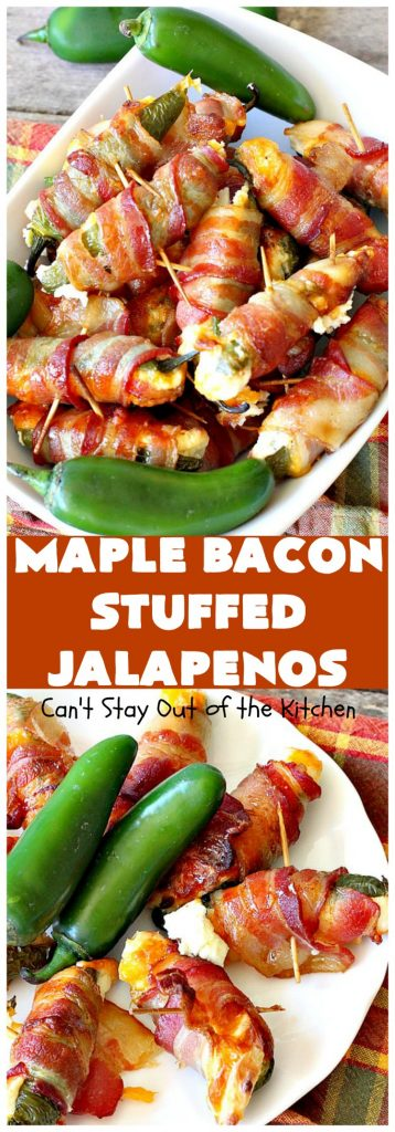 Maple Bacon Stuffed Jalapenos | Can't Stay Out of the Kitchen | this spectacular #appetizer is a 6 ingredient #recipe. #Bacon wrapped #jalapenos are stuffed with #creamcheese & #cheddarcheese & drizzled with #maplesyrup after baking. Our company loved them! They're perfect for any #holiday party or potluck. #appetizer #glutenfree #tailgating
