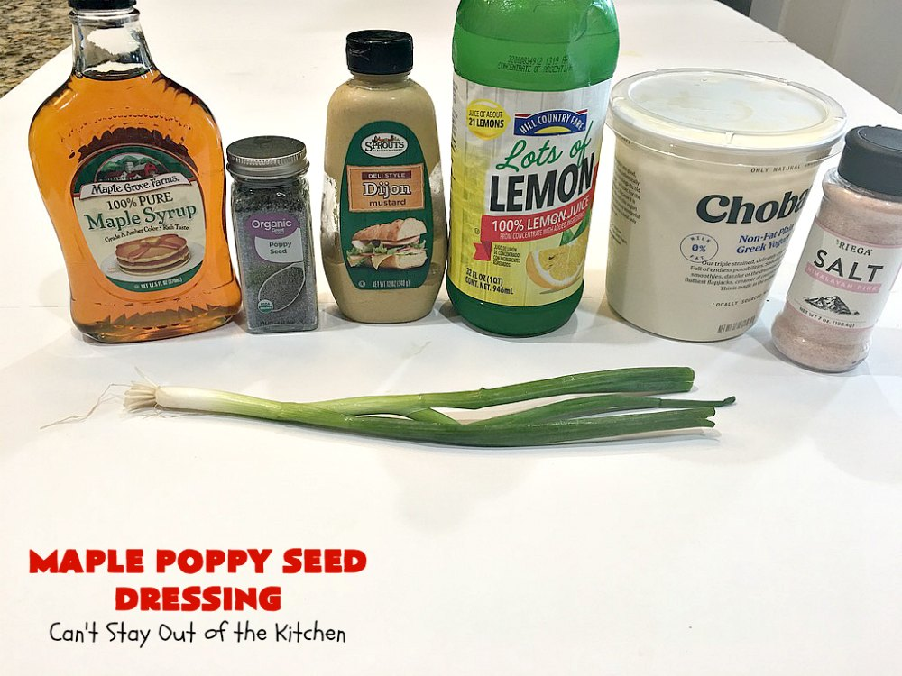 Maple Poppy Seed Dressing | Can't Stay Out of the Kitchen | this is a delicious, #healthy #SaladDressing with NO oil & NO sugar. It uses #GreekYogurt & #MapleSyrup instead. Great with a #TossedSalad with #fruit in it. #GlutenFree #LowCalorie #HealthySaladDressingRecipe