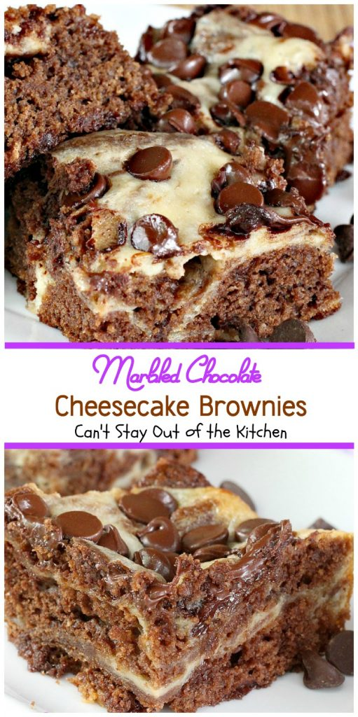 Marbled Chocolate Cheesecake Brownies | Can't Stay Out of the Kitchen | these outrageous #brownies will have you coming back for more! #chocolate #cheesecake #dessert