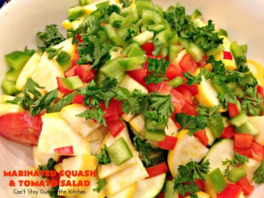 Marinated Squash and Tomato Salad | Can't Stay Out of the Kitchen | this delicious #salad is a refreshing & mouthwatering way to eat your #veggies! Perfect for summer #holidays, potlucks & backyard barbecues. #zucchini #tomatoes #YellowSquash #FarmersBoyGreekDressing #vegan #GlutenFree #MarinatedSquashAndTomatoSalad