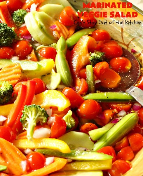 Marinated Veggie Salad | Can't Stay Out of the Kitchen | this healthy & delicious #salad is light and crunchy fare just in time for the #holidays! It's the perfect #SideDish for #Thanksgiving or #Christmas when you're trying to eat a little lighter, or offer some #vegan & #GlutenFree items on the menu. The #SaladDressing uses no oil. #tomatoes #broccoli #Cucumber, #carrots #SugarSnapPeas #MarinatedVeggieSalad