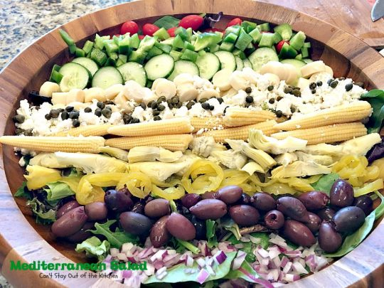 Mediterranean Salad | Can't Stay Out of the Kitchen | this spectacular #salad has many #Mediterranean veggies that make it even better than a traditional #Greeksalad. #glutenfree