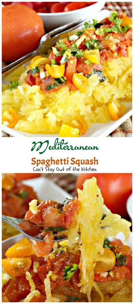 Mediterranean Spaghetti Squash | Can't Stay Out of the Kitchen