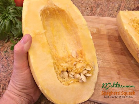 Mediterranean Spaghetti Squash | Can't Stay Out of the Kitchen | mouthwatering #MeatlessMonday dish that's healthy, #glutenfree and #vegan. You'll love the Mediterranean flavors.