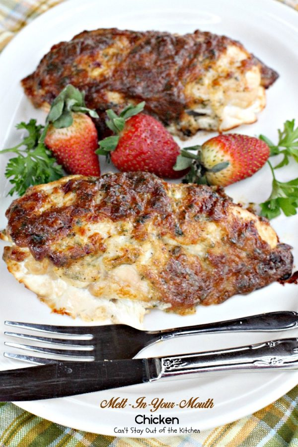 Melt-In-Your-Mouth Chicken   Can't Stay Out of the Kitchen   quick and easy recipe for #chicken. #cheese #glutenfree