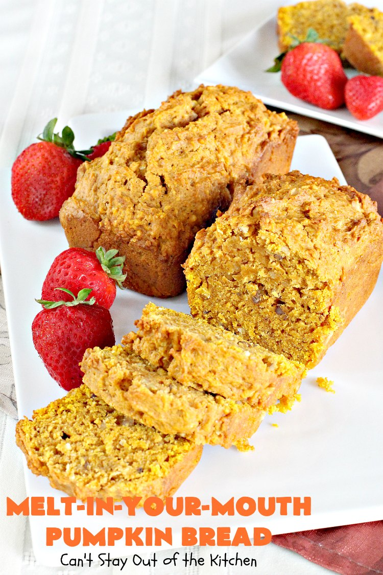 Melt-In-Your-Mouth Pumpkin Bread | Can't Stay Out of the Kitchen | this spectacular #pumpkin #bread will have you drooling! The recipe includes instant #coconut pudding for amazing flavor. Great for #fall #baking.