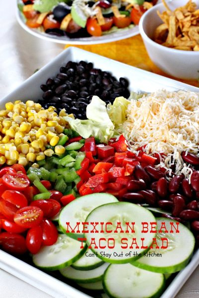 Mexican Bean Taco Salad | Can't Stay Out of the Kitchen | fabulous #TexMex #salad is perfect for Cinco de Mayo or other summer holiday fun. #glutenfree