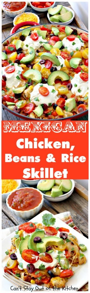 Mexican Chicken, Beans and Rice Skillet | Can't Stay Out of the Kitchen | this fantastic one-dish #TexMex skillet entree is one of the BEST you'll ever eat. Ready in about 40 minutes so it's perfect for weeknight meals. #chicken #glutenfree #avocados