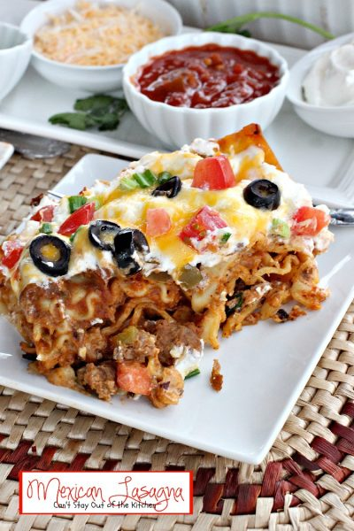 Mexican Lasagna | Can't Stay Out of the Kitchen | one of the BEST #lasagna recipes we've ever eaten. #Tex-Mex #beef #refriedbeans