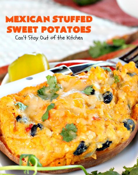 Mexican Stuffed Sweet Potatoes | I LOVE these mouthwatering #sweetpotatoes! They're hearty, filling and substantial enough for #MeatlessMondays. This #TexMex version is so flavorful & sumptuous you won't want to stop eating them. I sure didn't. Healthy, clean-eating #glutenfree #CincoDeMayo