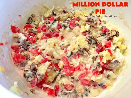 Million Dollar Pie | Can't Stay Out of the Kitchen | this creamy #pie is so spectacular you will find yourself drooling over every bite! It's really easy too. #dessert #cherries #pineapple #coconut