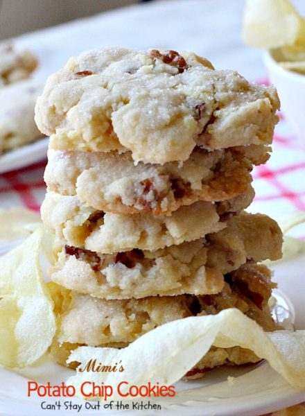 Mimi's Potato Chip Cookies | Can't Stay Out of the Kitchen | You'll never believe the secret ingredient in these heavenly #cookies is #potatochips! #pecans #dessert