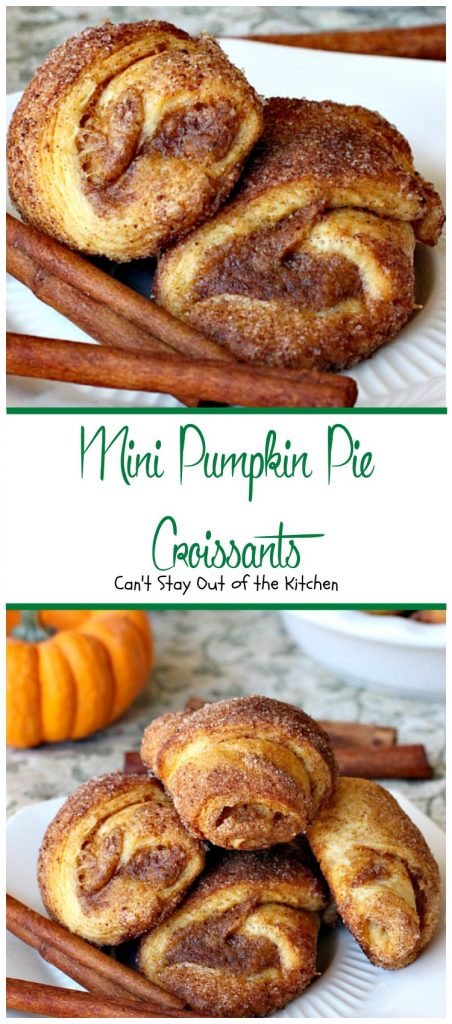 Mini Pumpkin Pie Croissants | Can't Stay Out of the Kitchen | these lovely #croissants taste like eating #pumpkinpie! Quick and easy since they use #crescentrolls. #pumpkin #breakfast