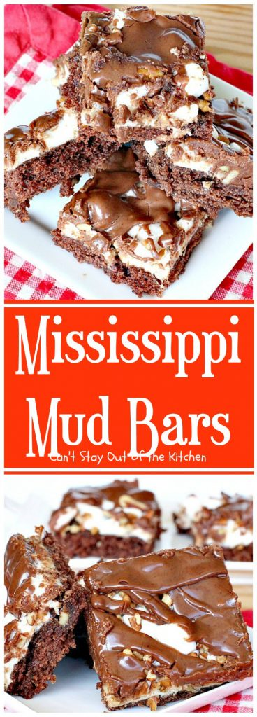 Mississippi Mud Bars | Can't Stay Out of the Kitchen | these #PaulaDeen #brownies are so addictive you won't be able to stop eating them. #dessert #chocolate #marshmallows