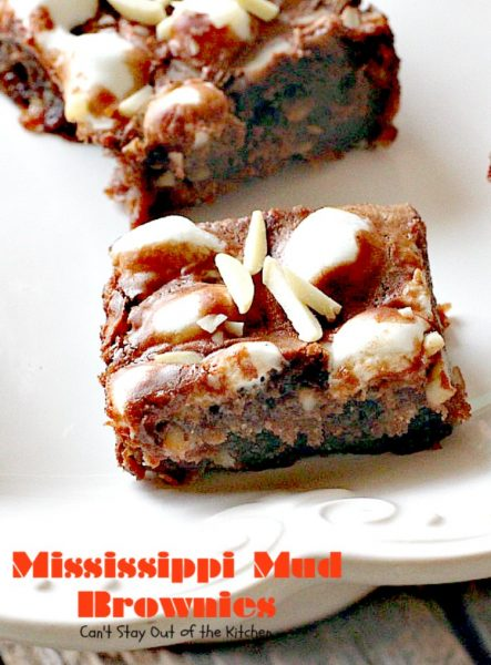 Mississippi Mud Brownies | Can't Stay Out of the Kitchen | these #brownies are divine! #chocolate #almonds & #marshmallows make this #dessert absolutely marvelous.