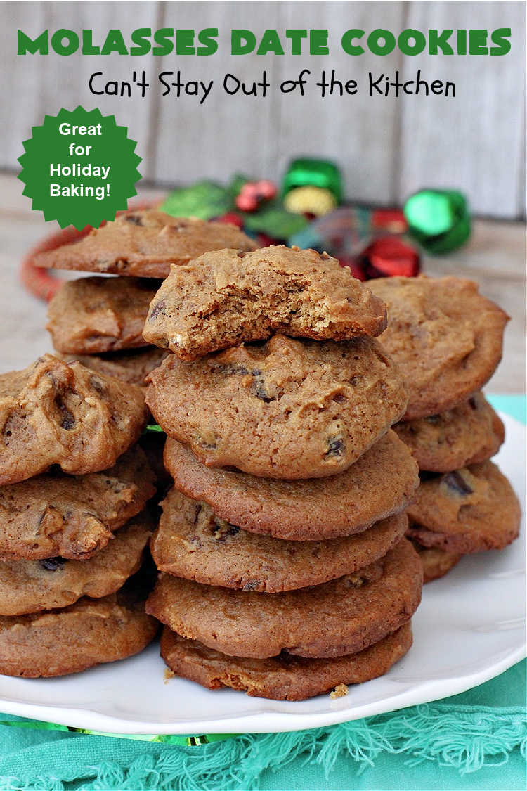 Molasses Date Cookies | Can't Stay Out of the Kitchen | This vintage #recipe is terrific for #holiday #baking. The #cookies are filled with #molasses & #dates and are unbelievably scrumptious. #ChristmasCookies #ChristmasCookieExchange #dessert #HolidayDessert #MolassesDateCookies