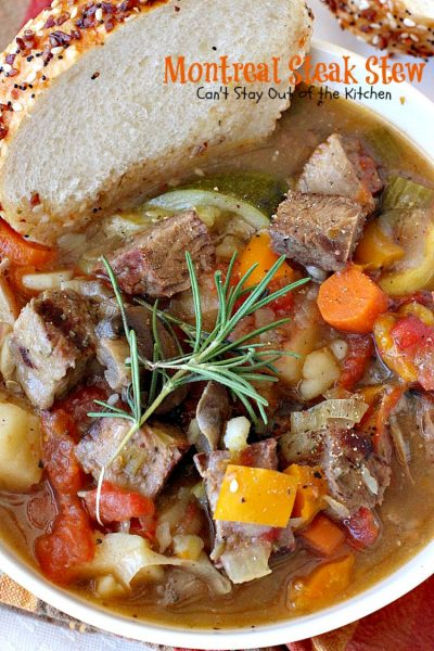 Montreal Steak Stew | Can't Stay Out of the Kitchen | delicious #beefstew using leftover #steak! This one is quick & easy since it's made in the #crockpot. #glutenfree #soup