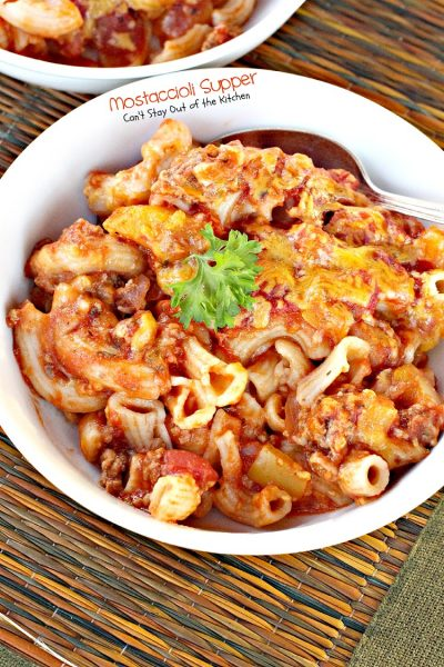 Mostaccioli Supper | Can't Stay Out of the Kitchen | this tasty layered #pasta #casserole is filled with #cheese and a homemade #marinara sauce. Uses #glutenfree #noodles.