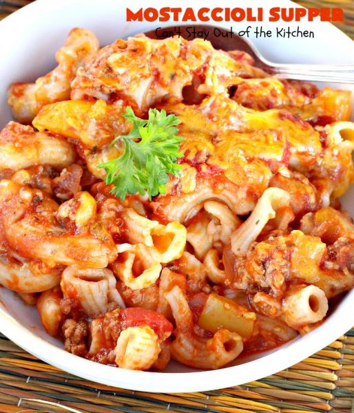 Mostaccioli Supper | Can't Stay Out of the Kitchen | this amazing #pasta entree has 3 layers of #noodles, #MarinaraSauce & #cheese! It's kid-friendly & terrific for weeknight suppers. #Mostaccioli #GlutenFree #GlutenFreePasta