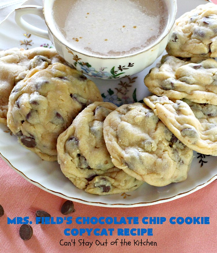 Mrs. Field's Chocolate Chip Cookie Copycat Recipe   Can't Stay Out of the Kitchen   this #CopycatRecipe is outstanding. If you want to bake up a batch of drool worthy #cookies for #dessert this #holiday season, this is it! Every bite will have you drooling. #ChristmasCookieExchange #chocolate #MrsFieldsChocolateChipCookies #ChocolateDessert #HolidayDessert #MrsFieldsCookies #MrsFieldsChocolateChipCookieCopycatRecipe