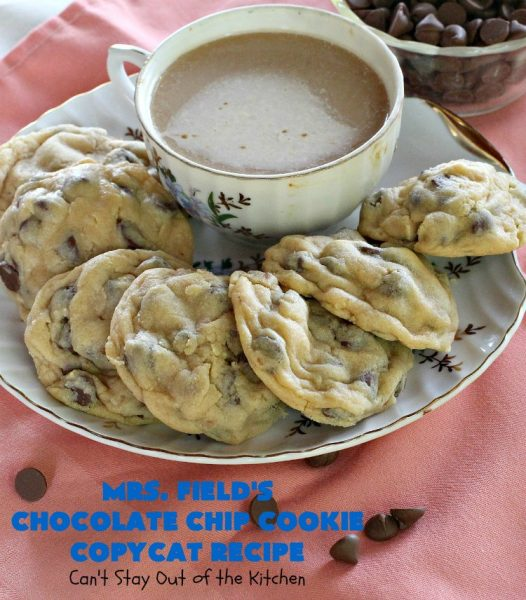 Mrs. Field's Chocolate Chip Cookie Copycat Recipe | Can't Stay Out of the Kitchen | this #CopycatRecipe is outstanding. If you want to bake up a batch of drool worthy #cookies for #dessert this #holiday season, this is it! Every bite will have you drooling. #ChristmasCookieExchange #chocolate #MrsFieldsChocolateChipCookies #ChocolateDessert #HolidayDessert #MrsFieldsCookies #MrsFieldsChocolateChipCookieCopycatRecipe