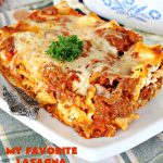 My Favorite Lasagna | Can't Stay Out of the Kitchen | this fabulous #lasagna #recipe is the ultimate! It uses #ItalianSausage & #RoTel diced tomatoes with #greenchilies to amp up the flavors. This lasagna uses 3 kinds of #cheese & is so loaded, you won't ever want to try a different recipe! Great for company. #beef #Italian #sausage #pasta #noodles