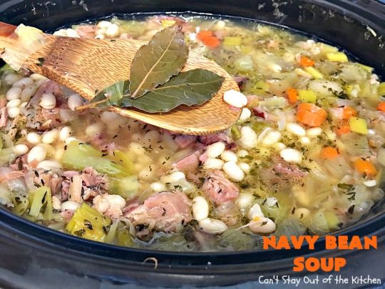 Navy Bean Soup | Can't Stay Out of the Kitchen | this easy #crockpot recipe is a terrific way to use up leftover #ham from the #holidays. Navy Bean #Soup is scrumptious comfort food that's totally filling & satisfying. #navybeans #glutenfree